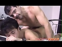 Old and young foot fetish turns into Asian ass fucking
