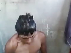 Young latin take a shower