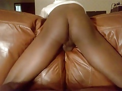 Leather couch hump and cum 1