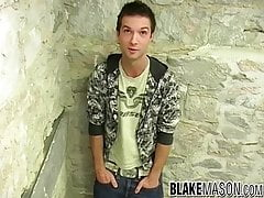 Cute British twink Nathan B masturbates after an interview