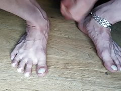 Cumshot with tied balls over my sexy feet