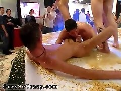 Naked nude gay group dance the club packed with screens flashing some