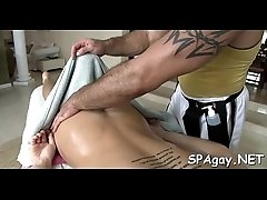Cute twink gets a lusty massage from stylish gay dude