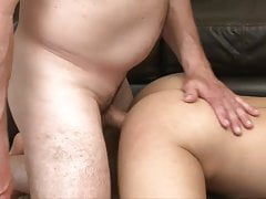 Twink in jockstrap sucks, rims and bareback fucked by daddy