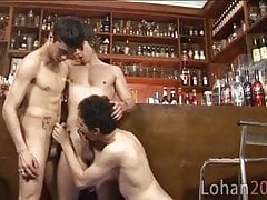 Spontaneous and hot twink orgy at the bar