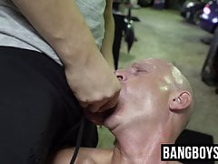 Kinky jock sucks multiple cocks while moaning from pleasure