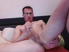 German Athletic Man Fingering His Smooth Ass,Cums On Cam