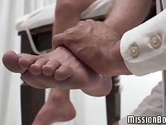 Cute young Mormon rides his elders rock hard dick