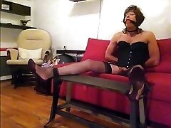 Horny tranny Valerie bondage in stockings jerk-off