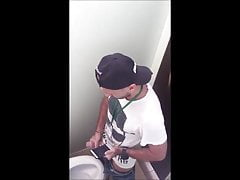 Guys caught jerking on public toilets