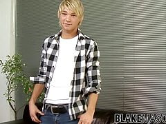 Blonde British twink Jesse jerking off solo after interview