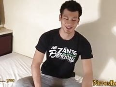 Ass fingering japanese dude jerks in his dick