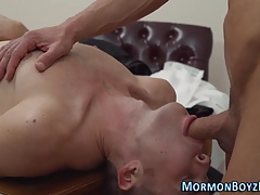 Twink sucks muscly mormon