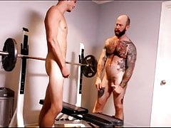 His tep dad gives him a workout.. And a creampie