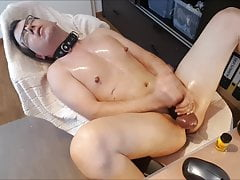 Oiled Horny Boy Pig Edging his rock hard huge fat Slave Cock