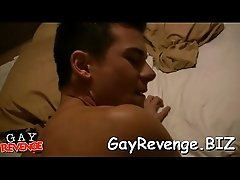 Twink stuffs throat with ramrod