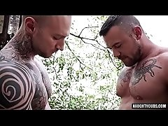 Tattoo gay domination with cumshot