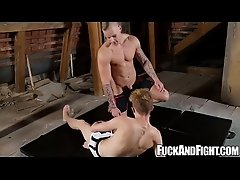 Hot Ryan Cage and Ariel Black fighting then fucking for real