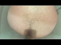 hairy bear/chub takes 9&quot_ dildo like a real slut!