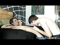 Barebacked twink jerks it off until he is ready to cum