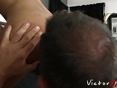Amateur sucks old mans cock and receives bareback doggy