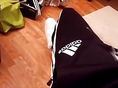 Wanking Contest 16 Cumshots in Adidas Sports Trousers :)))