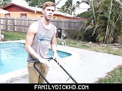 Bear Step Dad & Twink Step Son Sex Outdoors During Yard Work