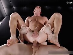 Daddy fucks with boyfriend. Big white cock in tight ass