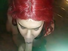 Crossdresser femboy sucks big cock and swallows cum