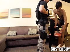 Gorgeous Latino twink tied up and fucked by policeman
