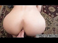 Straight Latin cutie cums hard while getting pounded