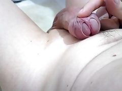 Frenum cum my shaved cock, sperm loads