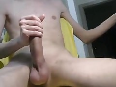 Young twinki stroking big long cock shaved balls