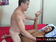 Cocksucked Asian twink nailed hard by daddy