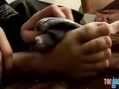 Cute twink Blinx strips and strokes over his delicate feet