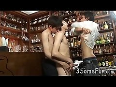 Passion-driven gay trio gives double BJs at a bar
