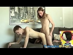 Bottom boy twink receives thick cock in the ass and cums