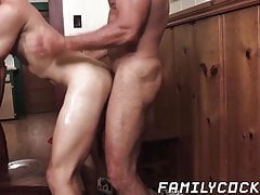 Hot bareback foursome with horny daddies and kinky stepsons