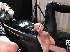 Submissive Rubber Fag Serves His Master