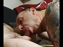 German amateur gay blows cock in private location