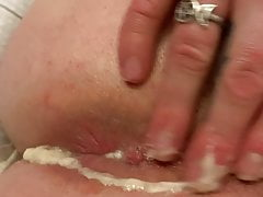 Messy 3 load BBC creampie squeezed out of a sissy pussy