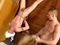 Bound boy made to suck cock