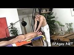 Twink is giving a gorgeous blowjob for cute gay masseur