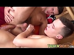 Shaved twink bare fucks a hairy young man hard and deep