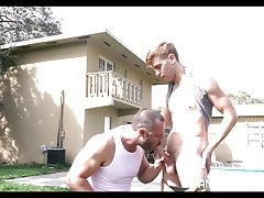 Blonde Twink Stepson And Bear Stepdad Fuck In Back Yard