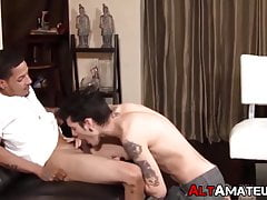 Tattooed emo twink services thick cock jock while jerking