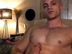 Muscular boy presents his huge cock