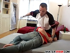 Spanker gets his smooth ass spanked after crossing the line