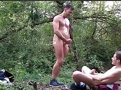 Dad and twink outdoor flip fuck