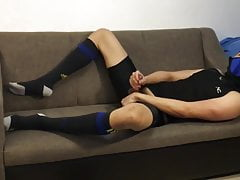 Post workout Jerkoff Slowmo Cum in Tights and Football Socks